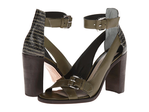 10 Crosby Derek Lam - Safra (Army Green/Black Mini Striped Snake Print) High Heels