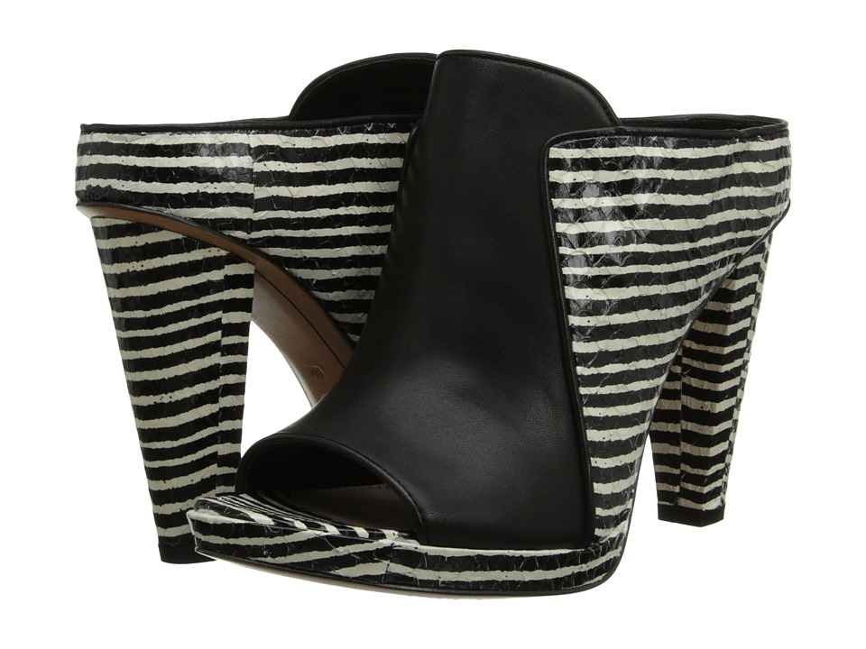 10 Crosby Derek Lam Jiles (Black/White Mini Stripe Snake) High Heels