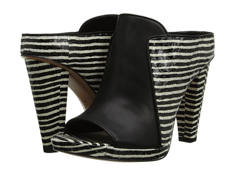 10 Crosby Derek Lam - Jiles (Black/White Mini Stripe Snake) High Heels