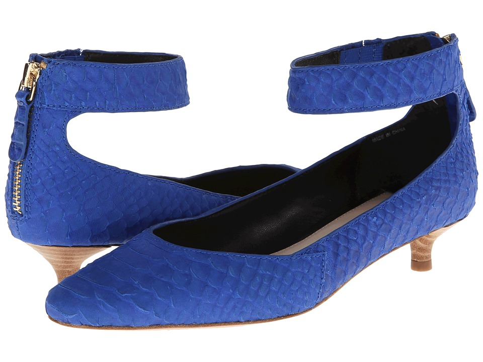 10 Crosby Derek Lam - Otis (Royal Blue Matte Cut Snake Print Leather) Women's 1-2 inch heel Shoes