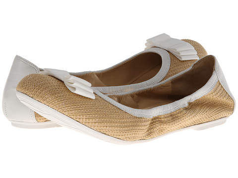 Cole Haan - Manhattan Bow Ft Bal (Natural Raffia/Optic White) Women's Shoes