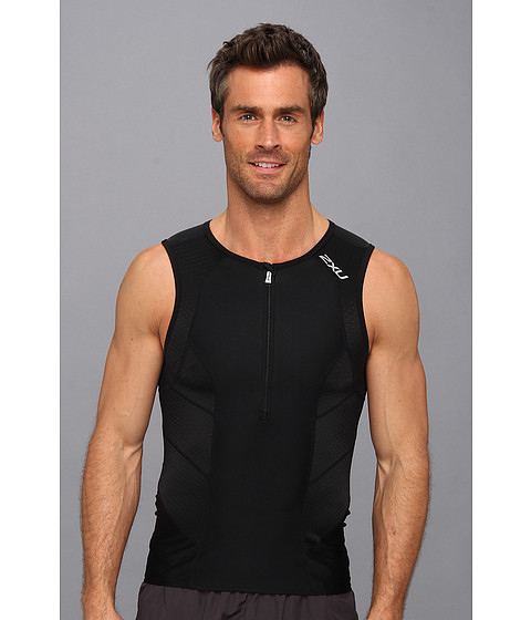 2XU - Perform Tri Singlet (Black/Black) Men