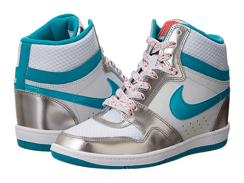 Nike - Force Sky High Sneaker Wedge (Pure Platinum/Metallic Pewter/Light Crimson/Turbo Green) Women's Shoes