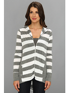 SALE! $39.99 - Save $68 on C C California Bold Stripe Triblend High Low Zip Hoodie (White) Apparel - 62.97% OFF $108.00