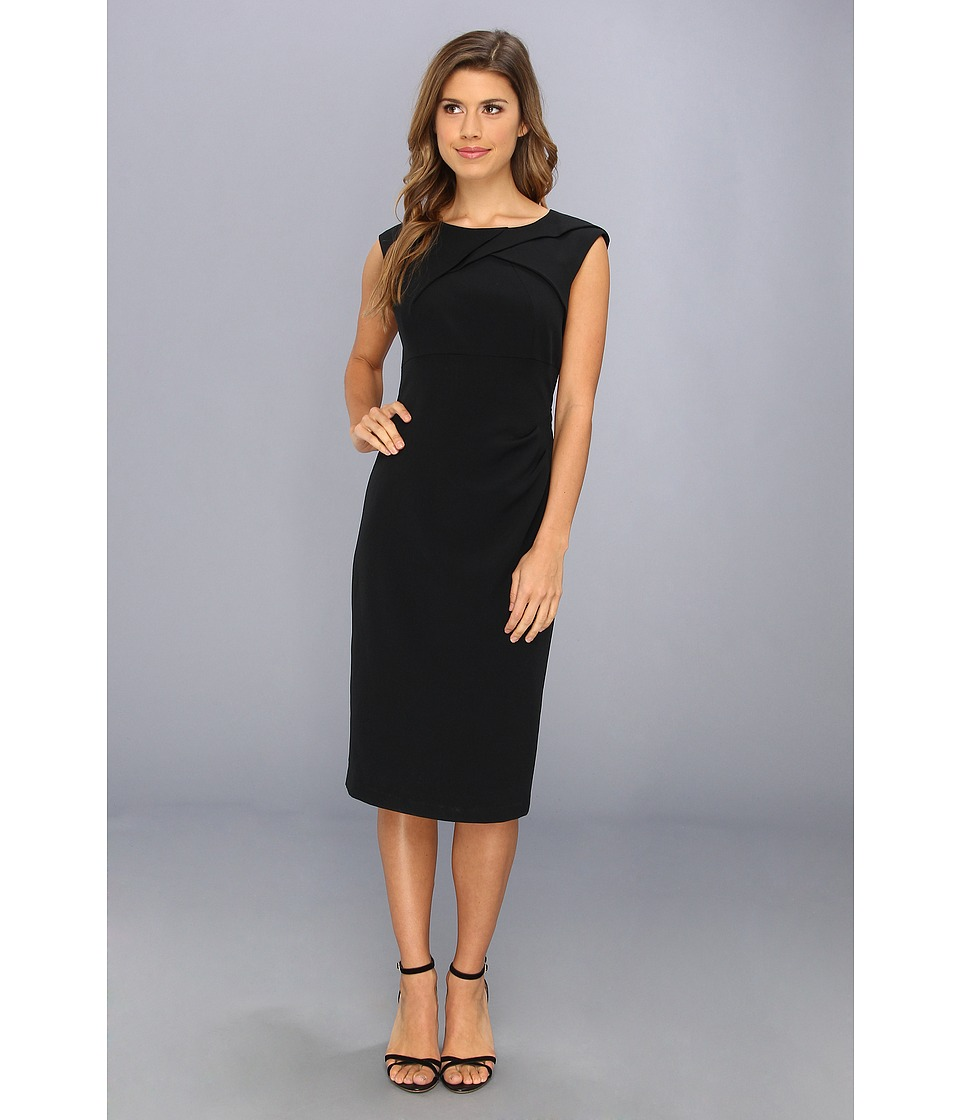 Adrianna Papell Crepe Tuck Detail Sheath Dress (Black) Women