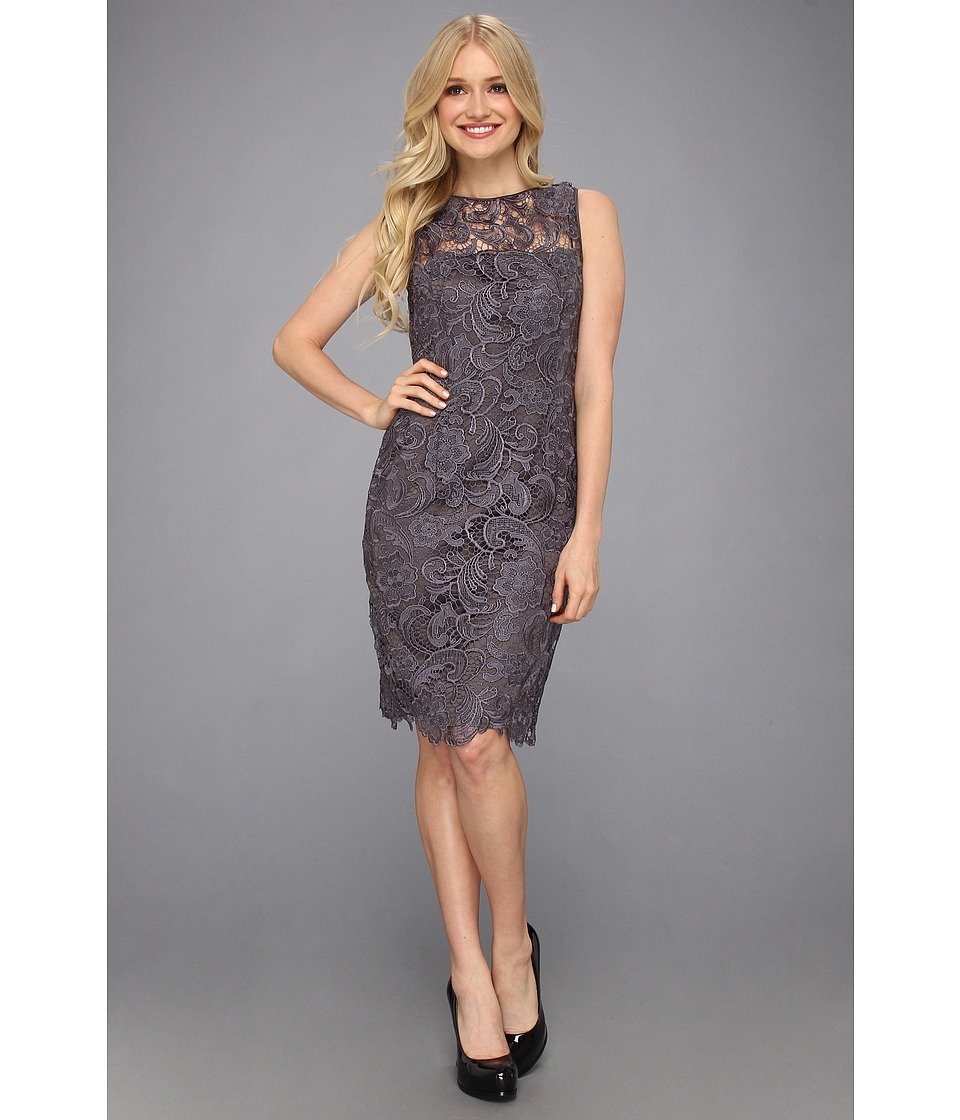 Adrianna Papell - Illusion Neck Lace Dress (Charcoal) Women's Dress