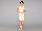 Adrianna Papell Illusion Neck Lace Dress (Champagne)
