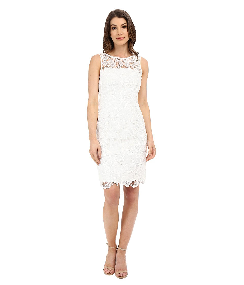 Adrianna Papell - Illusion Neck Lace Dress (Ivory) Women's Dress