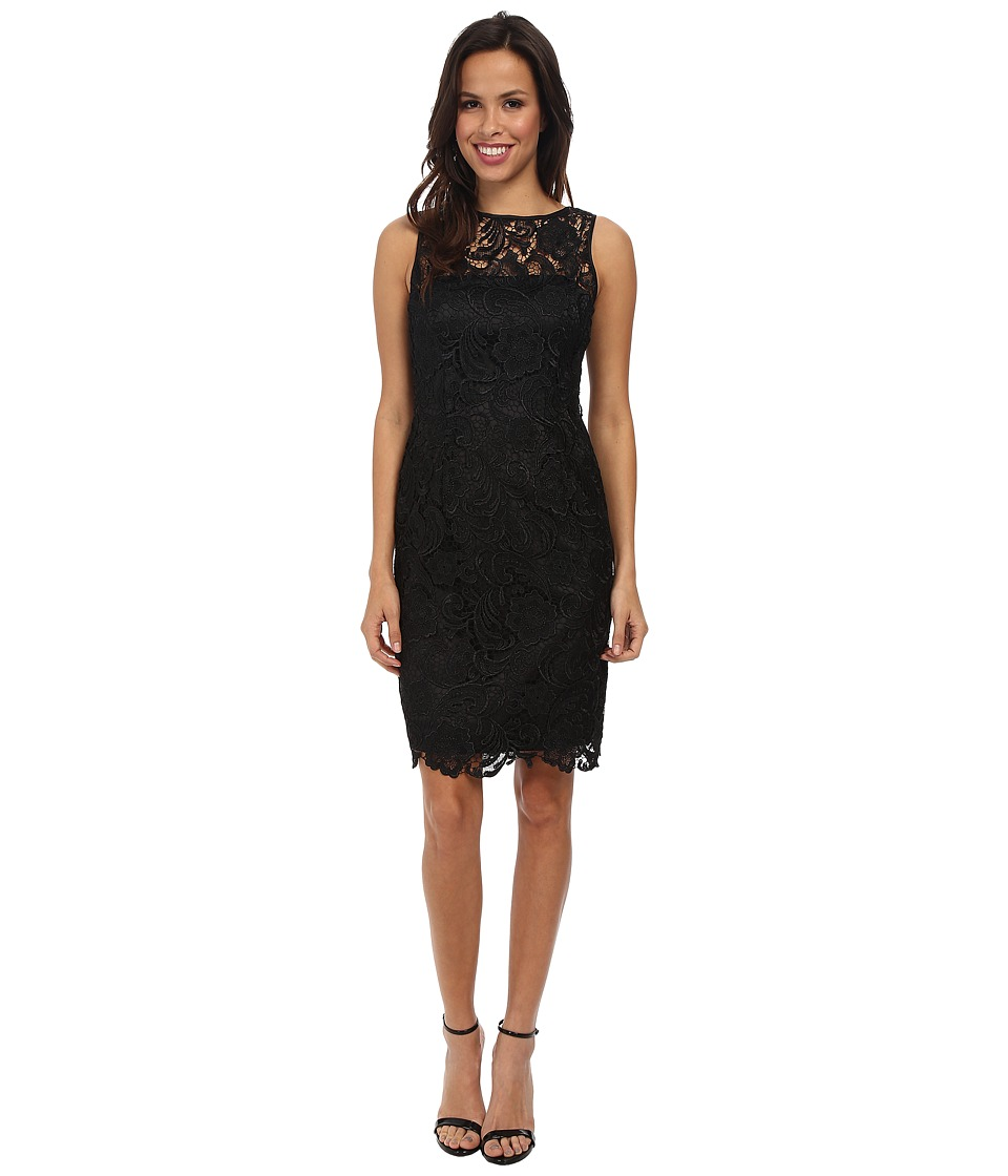 Adrianna Papell - Illusion Neck Lace Dress (Black) Women's Dress