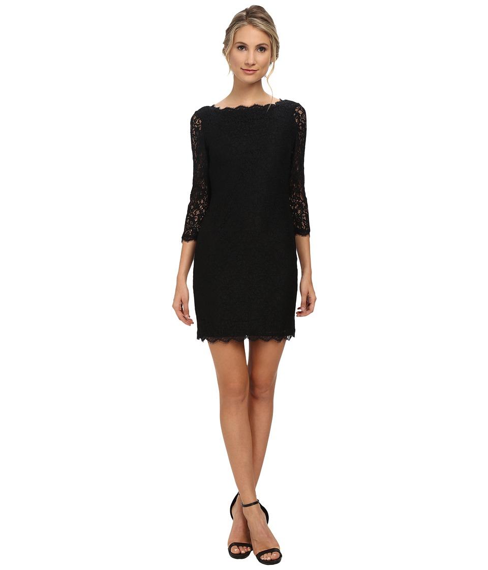 Adrianna Papell - L/S Lace Dress (Black) Women's Dress