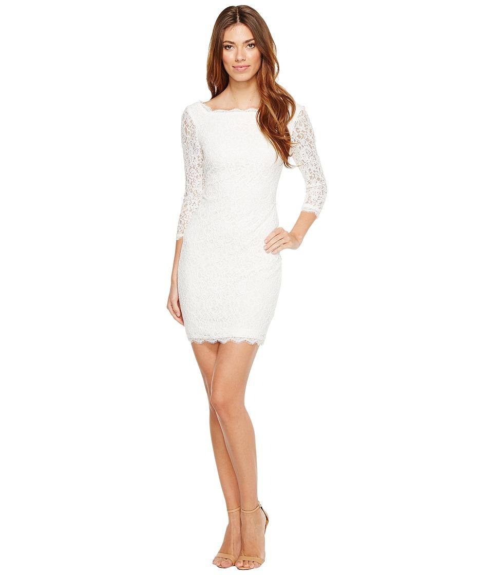 Adrianna Papell - L/S Lace Dress (Ivory) Women's Dress
