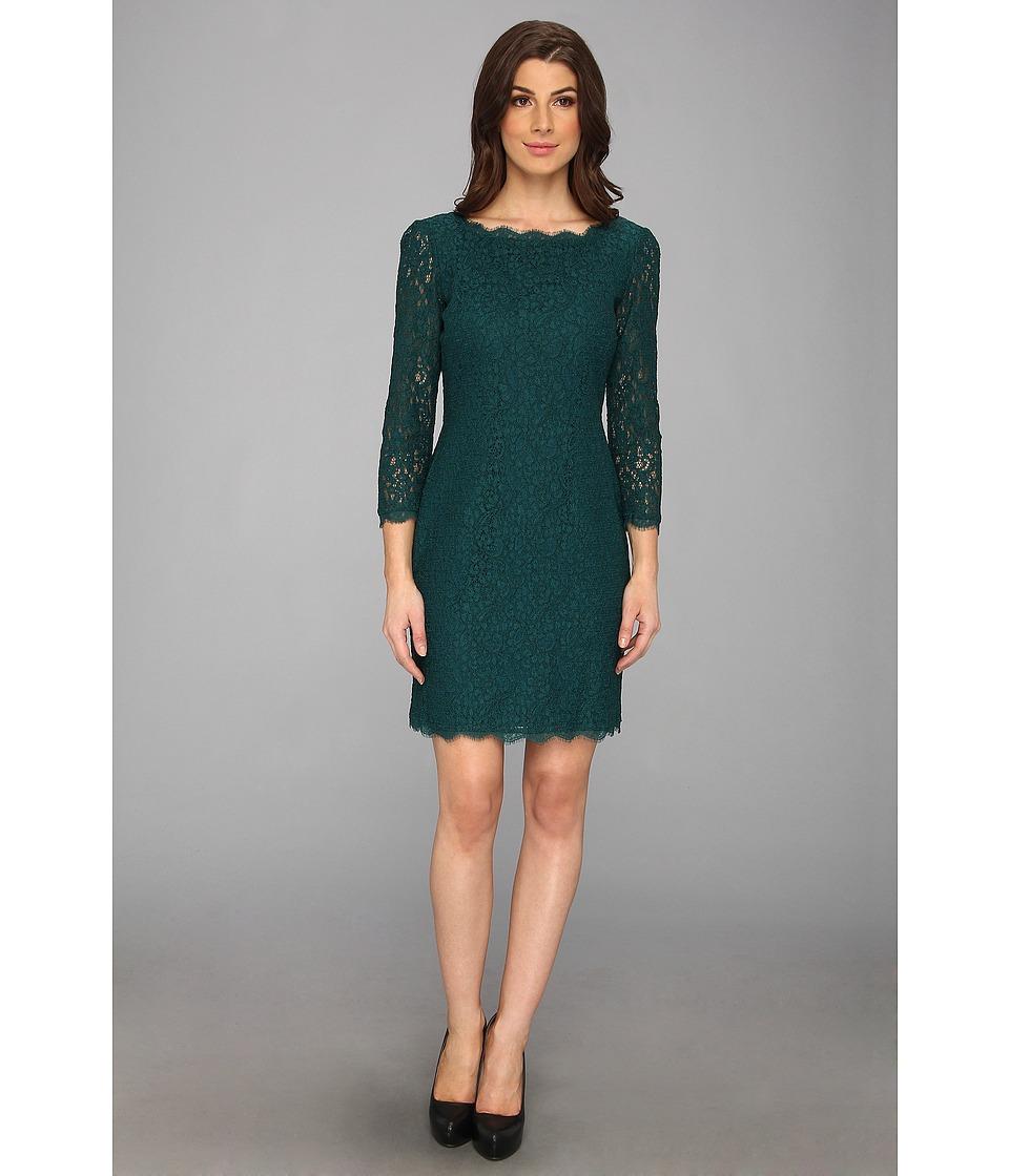 Adrianna Papell - L/S Lace Dress (Hunter) Women's Dress