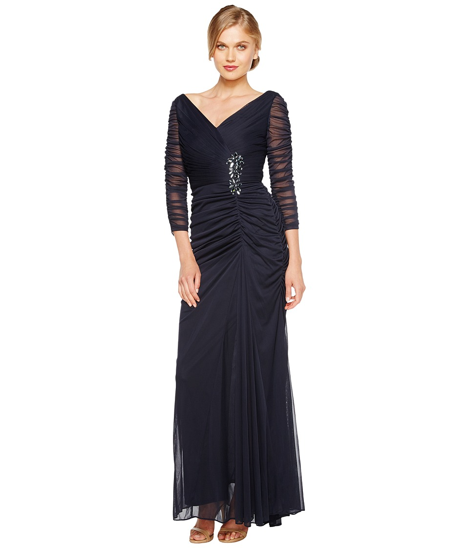 Adrianna Papell Drape Covered Gown Womens Dress (Navy)