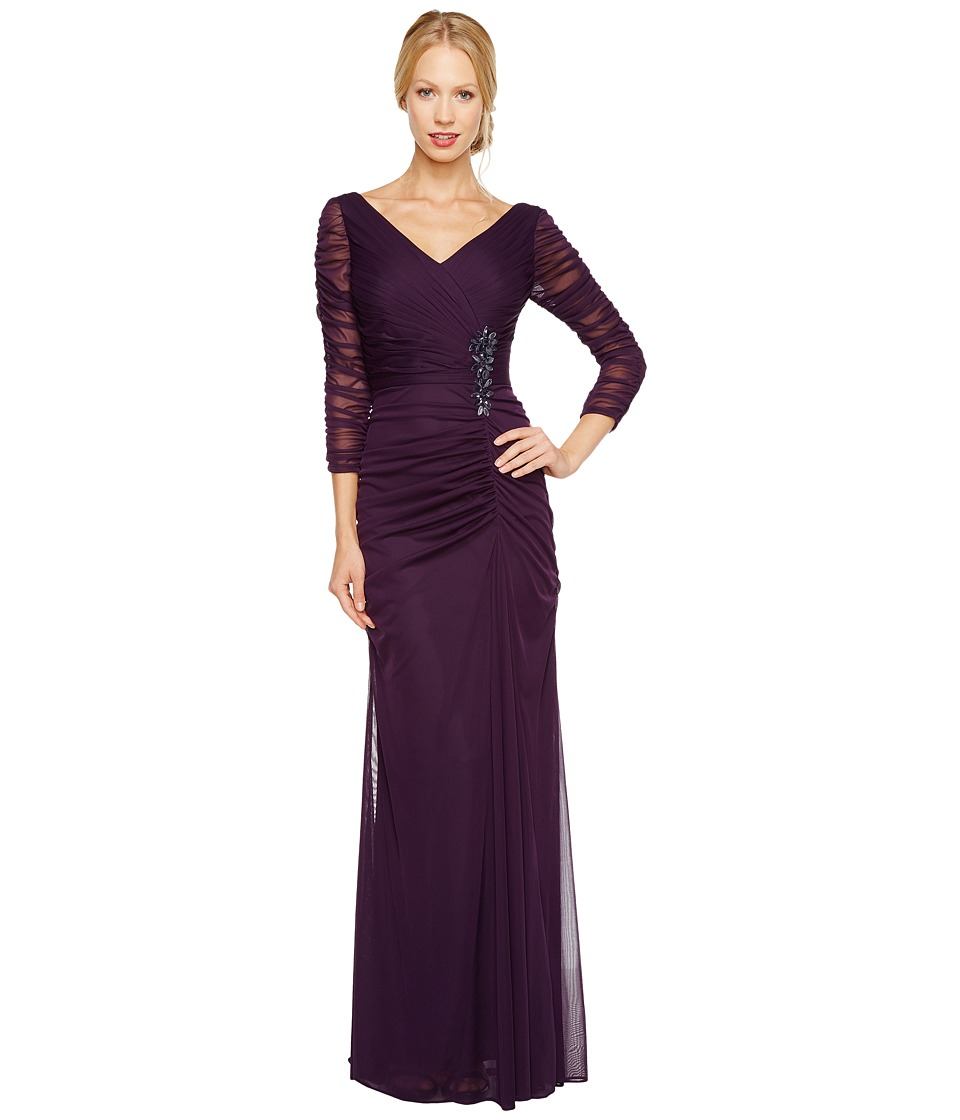 Adrianna Papell Drape Covered Gown (Aubergine) Women