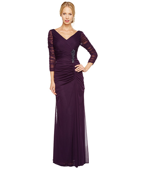 Adrianna Papell - Drape Covered Gown (Aubergine) Women's Dress