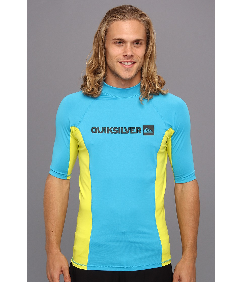 Quiksilver - Prime S/S Surf Shirt (Cyan/Citric) Men's Swimwear