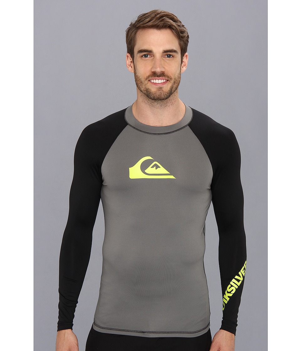 Quiksilver All Time L/S Surf Shirt AQYWR00035 Mens Swimwear (Gray)
