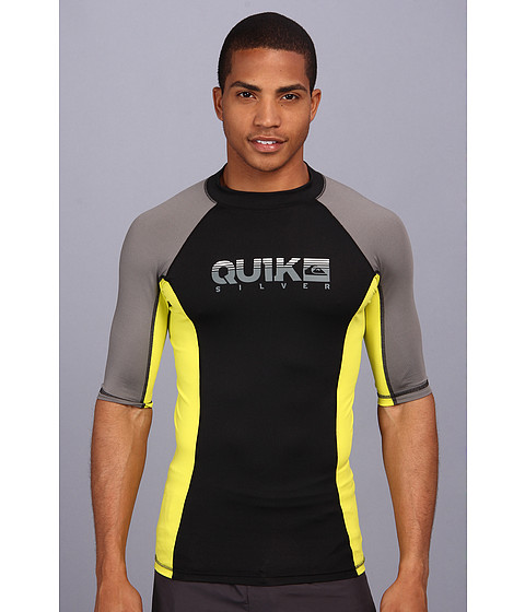 Quiksilver - Extra Extra S/S Surf Shirt (Black/Metal) Men's Swimwear