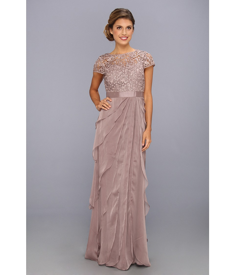 Adrianna Papell - Lace Bodice w/ Flutter Skirt (Buff) Women's Dress