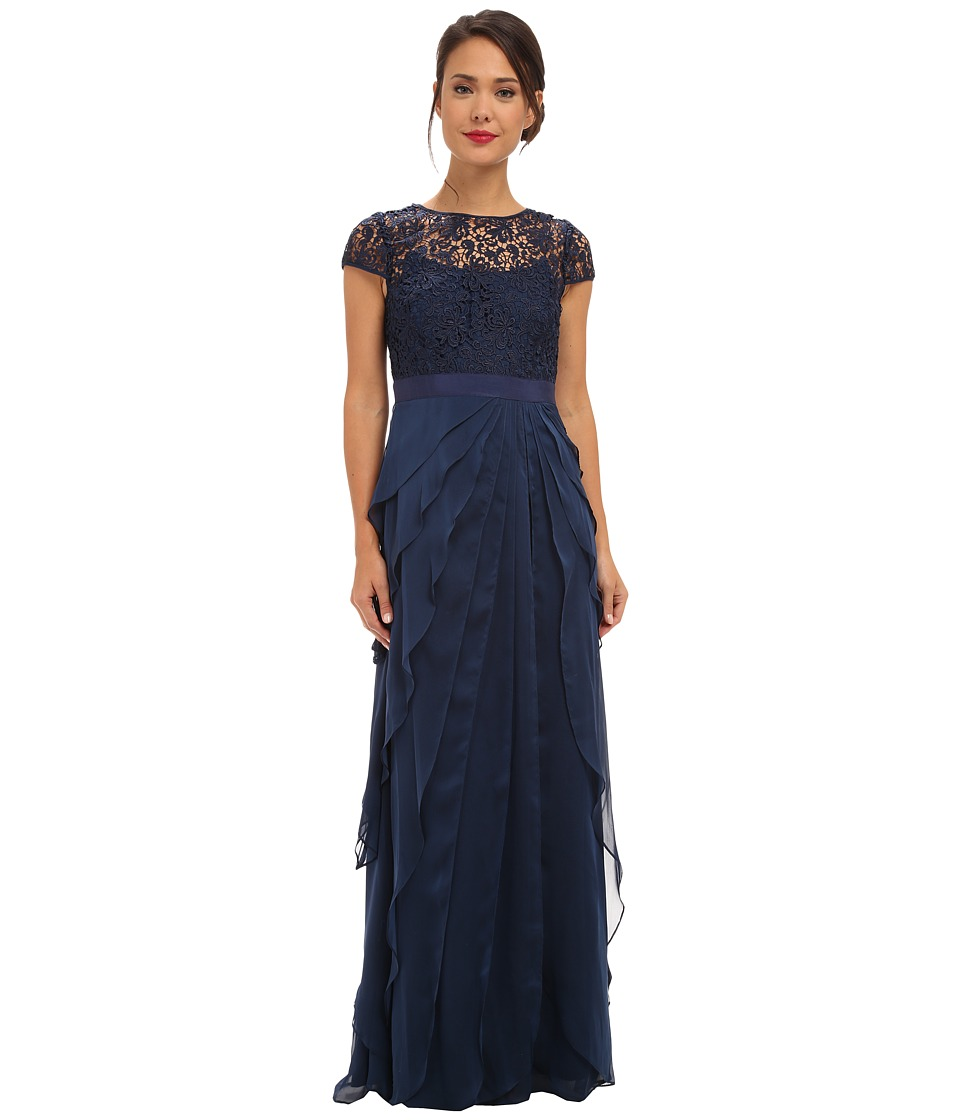 Adrianna Papell Lace Bodice Flutter Skirt Navy Dress