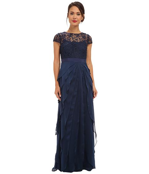Adrianna Papell - Lace Bodice w/ Flutter Skirt (Navy) Women's Dress
