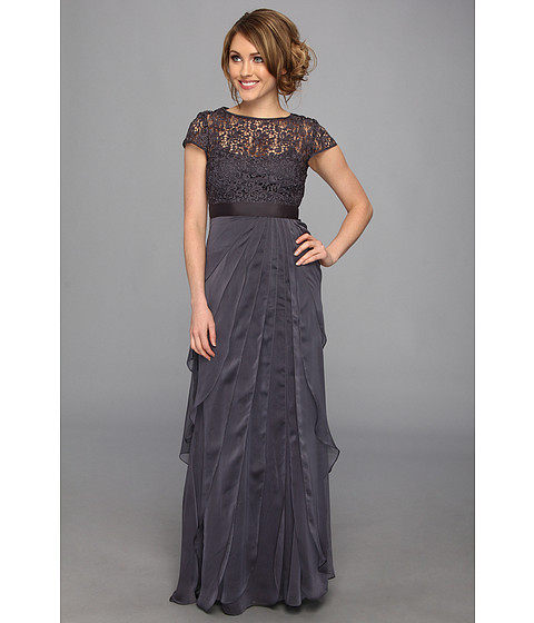 Adrianna Papell - Lace Bodice w/ Flutter Skirt (Charcoal) Women