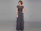 Adrianna Papell Lace Bodice w/ Flutter Skirt (Charcoal)