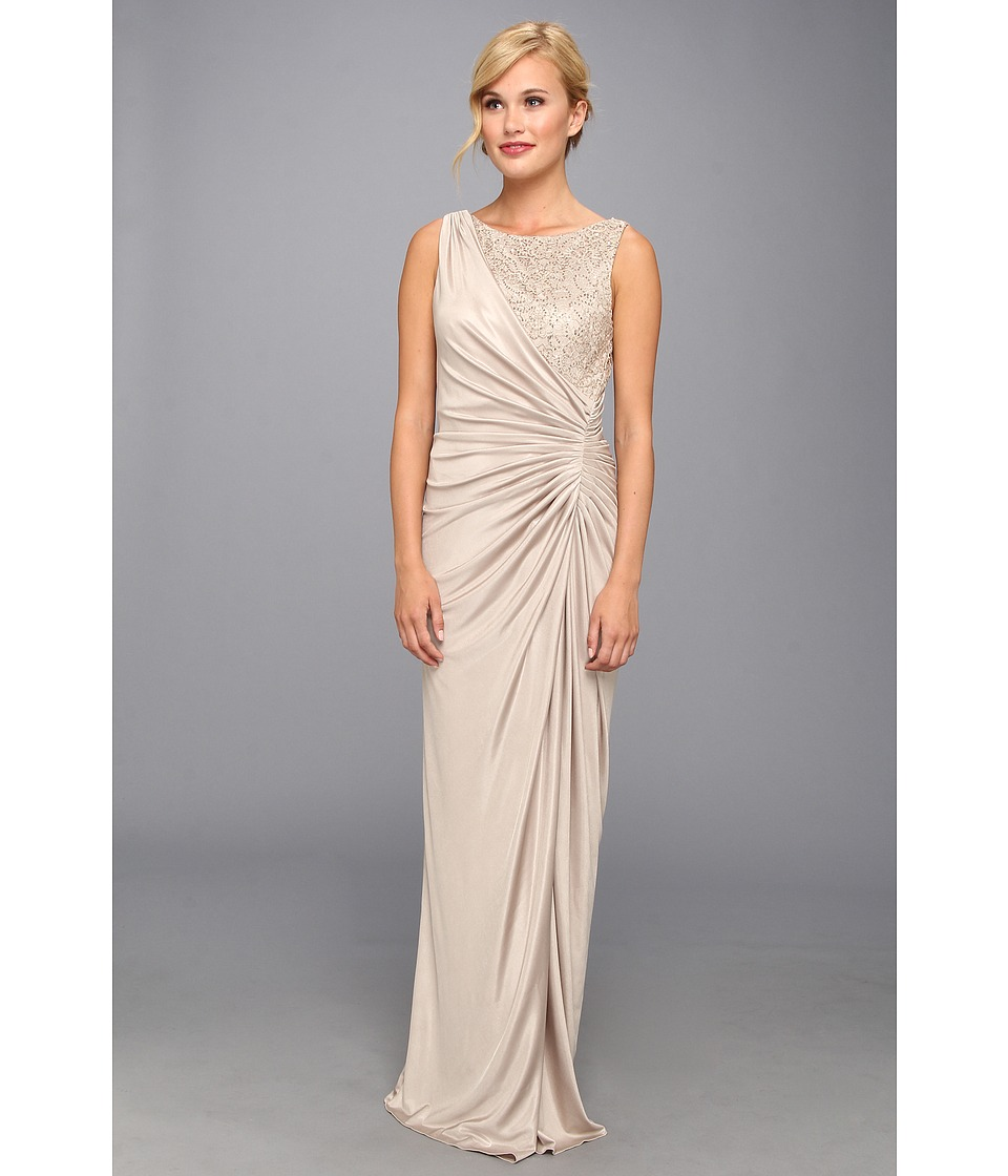 Adrianna Papell Lace Jersey Gown Champagne Dress