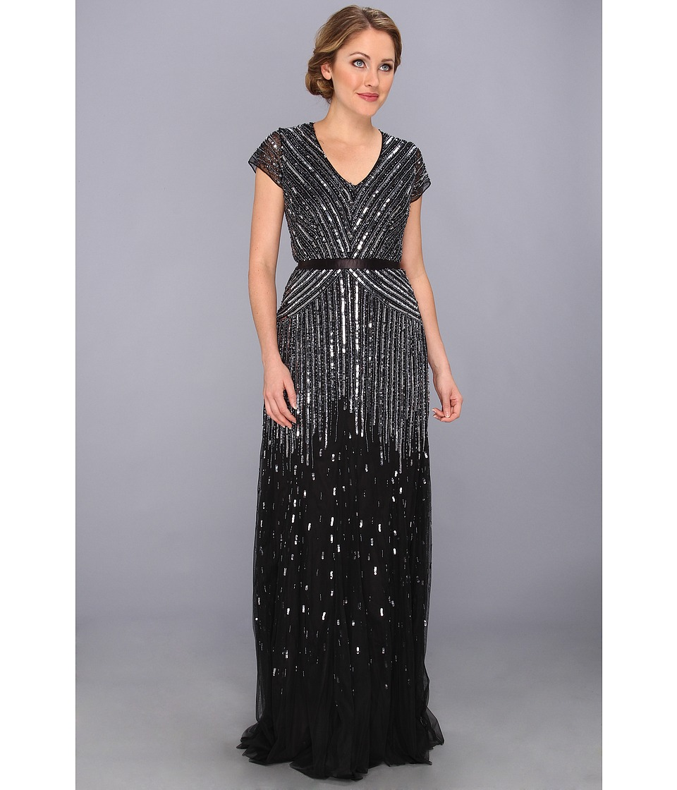 Adrianna Papell - Cap Sleeve Beaded Gown (Gunmetal) Women's Dress