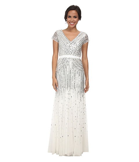 Adrianna Papell - Cap Sleeve Beaded Gown (Ivory) Women