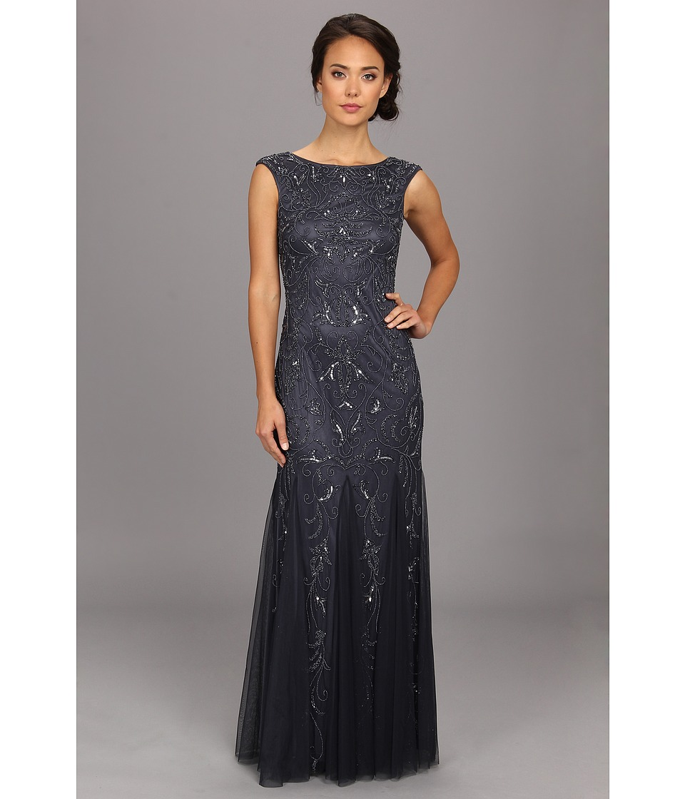 Adrianna Papell - Cap Sleeve Beaded Gown (Charcoal) Women's Dress