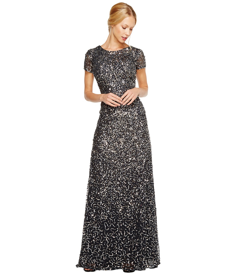 Adrianna Papell Cap Sleeve Scoop Back Beaded Down Gown (Charcoal) Women