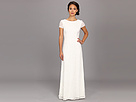 Adrianna Papell Cap Sleeve Scoop Back Beaded Down Dress (Ivory)