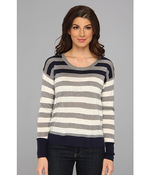 C&C California - Blocked Stripe Sweater (White) Women's Sweater
