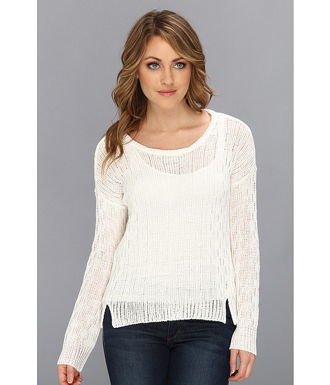 C&C California - L/S Cropped Sweater (White) Women's Sweater