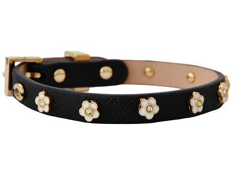 Juicy Couture Daisy Stud Leather Bracelet (Black) Bracelet