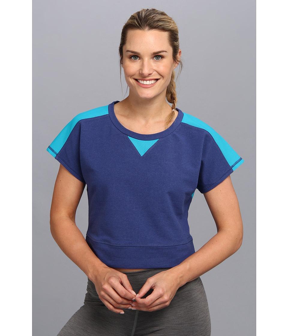 Lucy - Sun Salute Crop Pullover (Ultramarine Heather/Arabia) Women's Workout plus size,  plus size fashion plus size appare