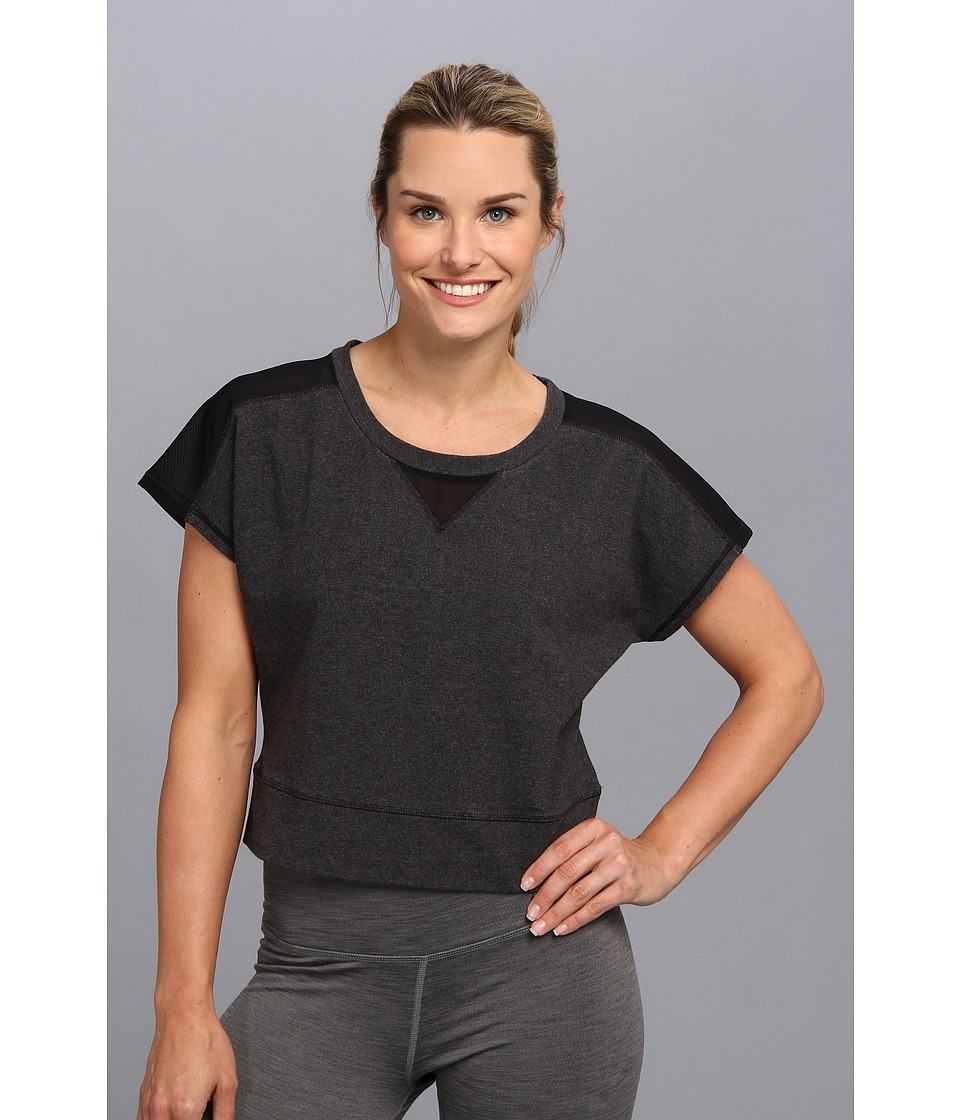 Lucy - Sun Salute Crop Pullover (Asphalt Heather/Lucy Black) Women's Workout plus size,  plus size fashion plus size appare