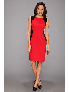SALE! $49.99 - Save $79 on Anne Klein Color Blocked Crepe Bi Stretch Dress (Lipstick Black) Apparel - 61.25% OFF $129.00