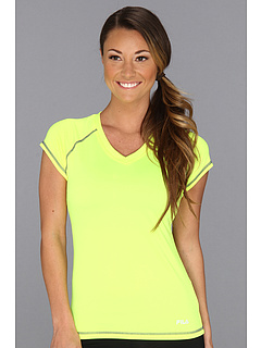 SALE! $14 - Save $21 on Fila Performance V Neck Tee Shirt (Safety Yellow Deep Blue) Apparel - 60.00% OFF $35.00