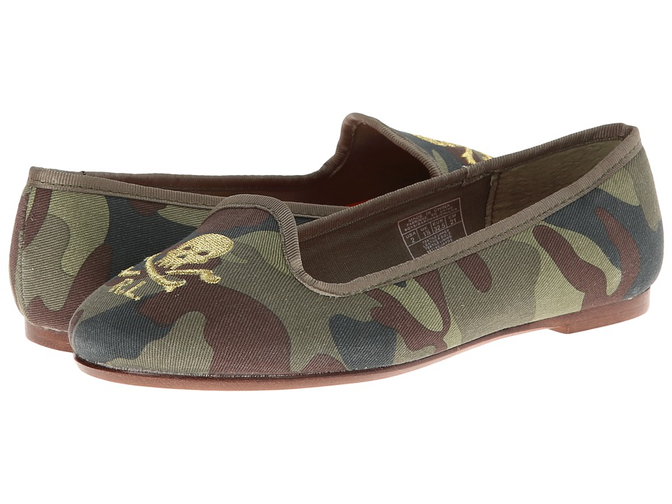 Ralph Lauren Collection Kids - Jayde (Toddler/Little Kid/Big Kid) (Camouflage Linen w/ Skulls & Crossbones) Girls Shoes