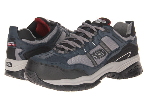 SKECHERS Work - On Site - Robson (Navy/Grey) Men's Shoes