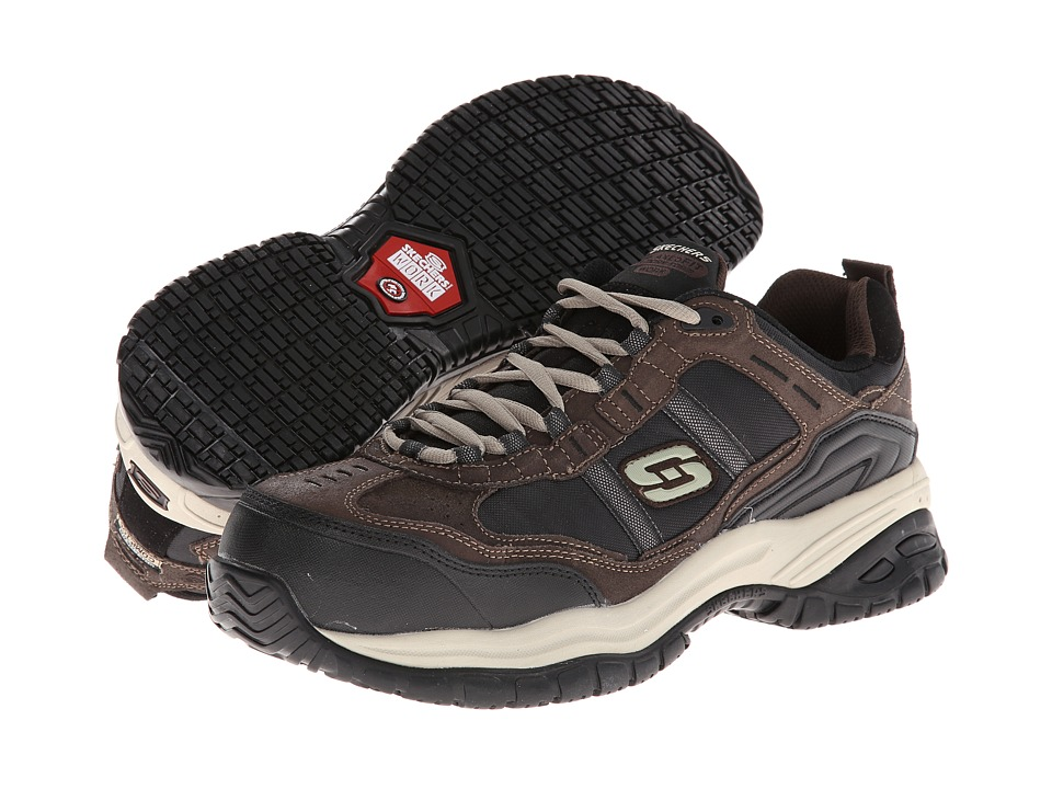 SKECHERS Work - On Site - Robson (Brown/Black) Men's Shoes