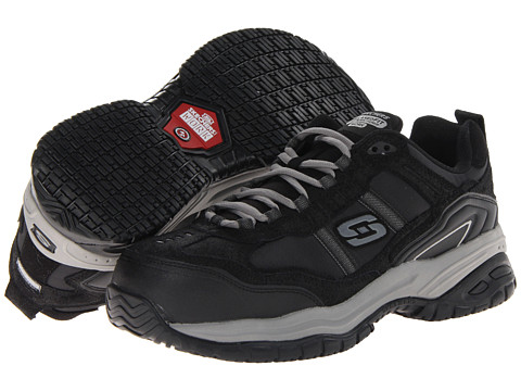 SKECHERS Work - On Site - Robson (Black/Grey) Men's Shoes