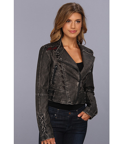 Sam Edelman Circus by Sam Edelman Embroidered Faux Leather Jacket (Black) Women's Coat