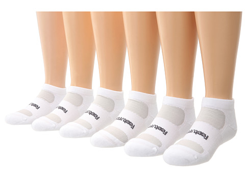Feetures - High Performance Light Cushion Low Cut 6-Pair Pack (White) Low Cut Socks Shoes