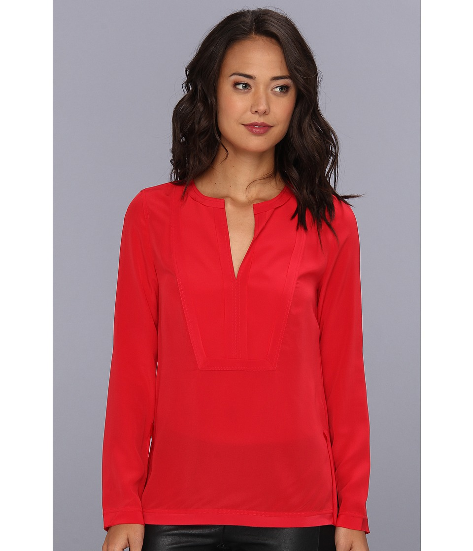 BCBGMAXAZRIA - Cato Square Bib Tunic Top (Red Berry) Women's Blouse
