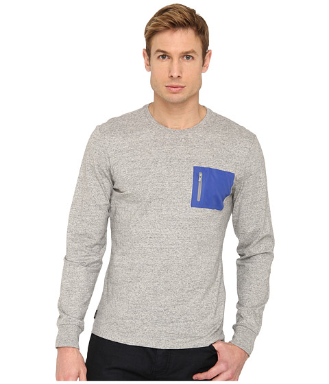 Jack Spade - Long Sleeve Heat-Sealed Pocket T-Shirt (Cement Heather Grey) Men's T Shirt