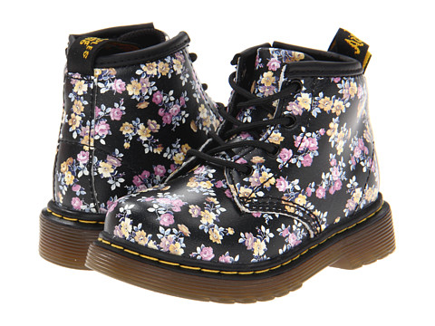 Dr. Martens Kid's Collection - Brooklee B 4-Eye Lace Boot (Toddler) (Black Mini Tydee) Girls Shoes