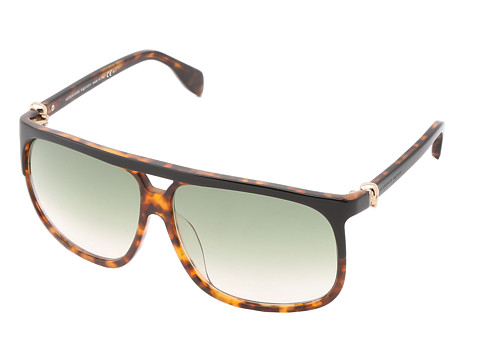 Alexander McQueen - AMQ4243/S (Black Havana/Dark Green Gradient) Plastic Frame Fashion Sunglasses
